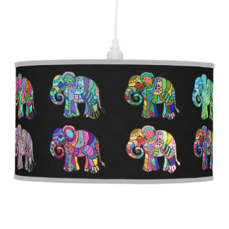Exotic ornamental psychedelic colorful elephants pendant lamp
