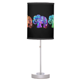 Exotic ornamental rainbow colorful elephants table lamp