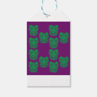 Exotic palms green on purple gift tags