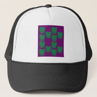 Exotic palms green on purple trucker hat