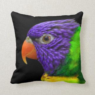Exotic Parrot Purple Green Yellow Throw Pillows