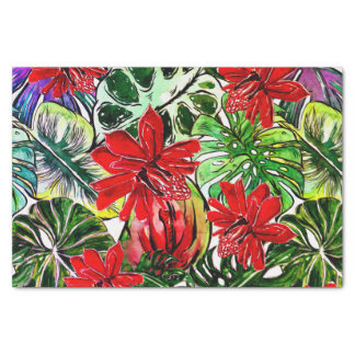 Exotic Passiflora Flowers Jungle Watercolor Patter Tissue Paper