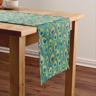 Exotic Peacock Feather Pattern Green Dining Short Table Runner