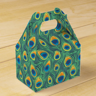 Exotic Peacock Feather Pattern Jewel Green Favor Box