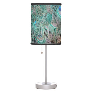 Exotic Peacock Feathers Tan And Green Desk Lamps