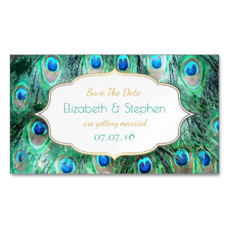Exotic Peacock Feathers w/ Frame Save The Date Magnetic Business Card