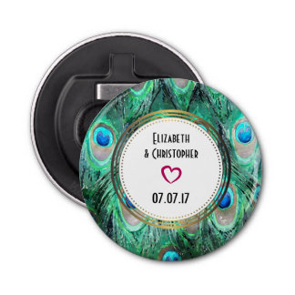 Exotic Peacock Feathers Wedding Favor Button Bottle Opener
