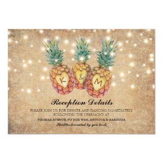 Exotic Pineapple Tropical Wedding Reception Card
