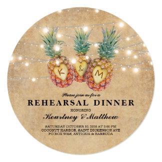 Exotic Pineapple Tropical Wedding Rehearsal Dinner Card