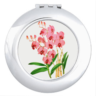 Exotic Pink Orchids Compact Mirror