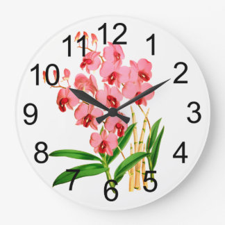 Exotic Pink Orchids Wall Clock