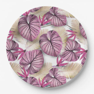 Exotic plants 9 inch paper plate