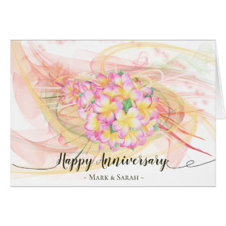 Exotic Plumeria Flower Abstract Art Calligraphy Card