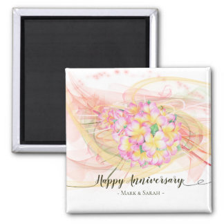 Exotic Plumeria Flower Abstract Art Calligraphy Magnet