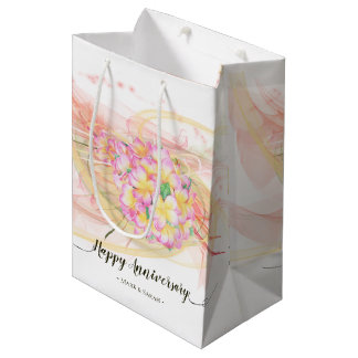 Exotic Plumeria Flower Abstract Art Calligraphy Medium Gift Bag