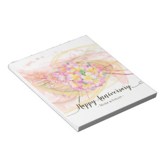 Exotic Plumeria Flower Abstract Art Calligraphy Notepad
