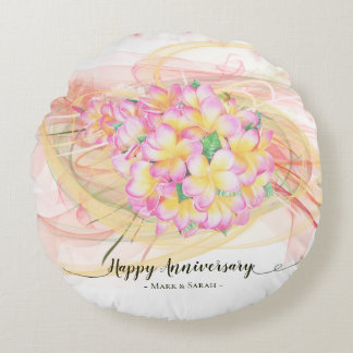 Exotic Plumeria Flower Abstract Art Calligraphy Round Pillow