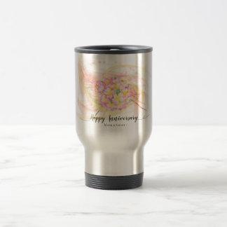 Exotic Plumeria Flower Abstract Art Calligraphy Travel Mug