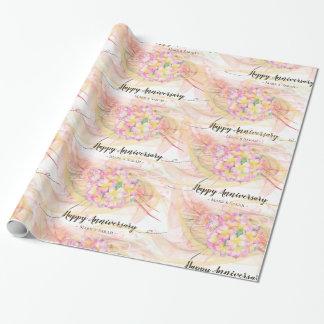 Exotic Plumeria Flower Abstract Art Calligraphy Wrapping Paper