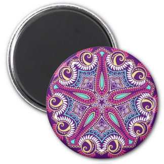 Exotic Purple Fractal mandala starfish ornament 2 Inch Round Magnet