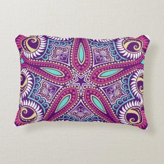 Exotic Purple Fractal mandala starfish ornament Decorative Pillow