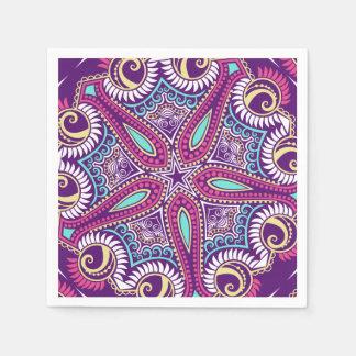 Exotic Purple Fractal mandala starfish ornament Disposable Napkin