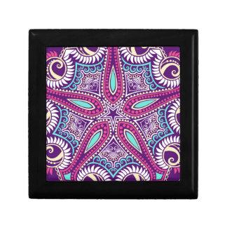 Exotic Purple Fractal mandala starfish ornament Keepsake Box