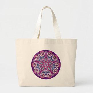 Exotic Purple Fractal mandala starfish ornament Large Tote Bag