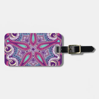 Exotic Purple Fractal mandala starfish ornament Luggage Tag