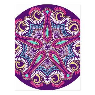 Exotic Purple Fractal mandala starfish ornament Postcard