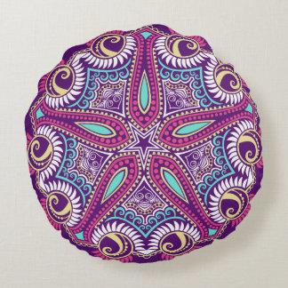 Exotic Purple Fractal mandala starfish ornament Round Pillow