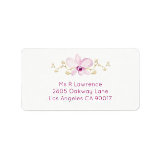 Exotic Purple Orchid Watercolor Address Labels