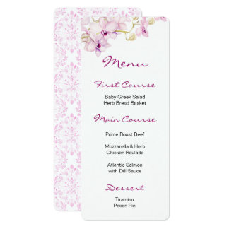 Exotic Purple Orchid Watercolor Menus Card