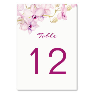 Exotic Purple Orchid Watercolor Table Number Cards