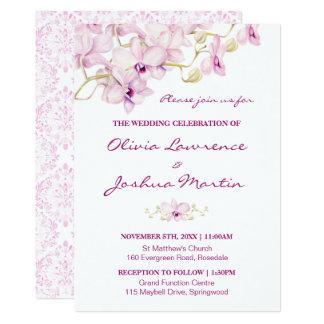 Exotic Purple Orchid Watercolor Wedding Invitation