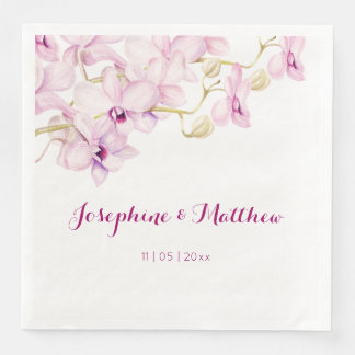 Exotic Purple Orchid Watercolor Wedding Paper Dinner Napkin