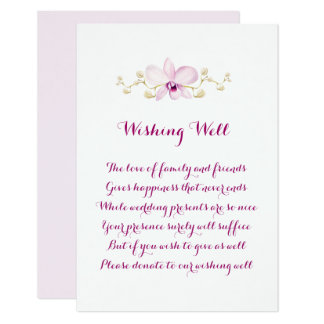 Exotic Purple Orchid Wedding Wishing Well Cards