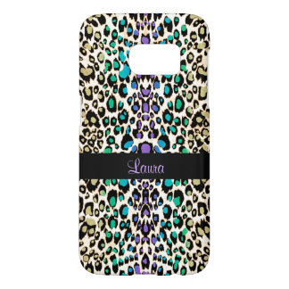 Exotic Rainbow Leopard Personalized Animal Print Samsung Galaxy S7 Case