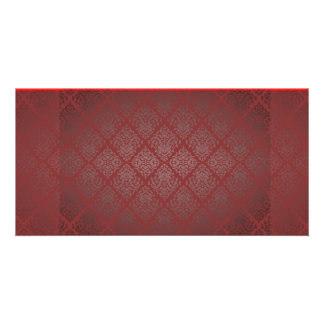 Exotic Red and Black damask wedding gift Photo Greeting Card