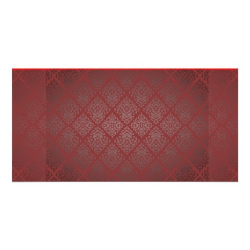 Exotic Red and Black damask wedding gift Personalized Photo Card