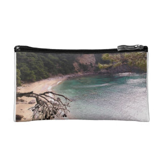 Exotic remote beach in Sparta. Makeup Bags