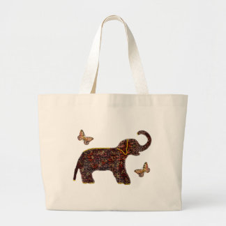 Exotic Rose Elephant Large Tote Bag