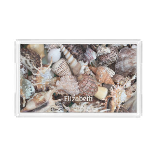 Exotic Sea Shells Beach Personalized Acrylic Tray