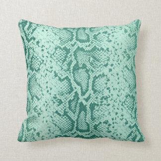 Exotic Snakeskin Pattern | mint blue Throw Pillow
