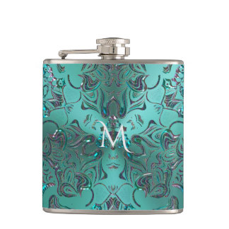 Exotic Space Fantasy Mandala Monogram Hip Flask
