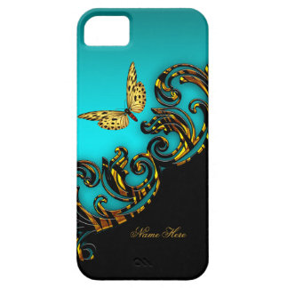 Exotic Teal Blue Gold Black Butterfly iPhone 5 Case