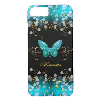Exotic Teal Blue Gold Black Butterfly Sparkles iPhone 8/7 Case