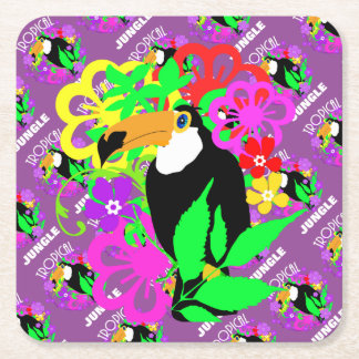 Exotic Toucan Bird Cute Tropical Animal Colorful Square Paper Coaster