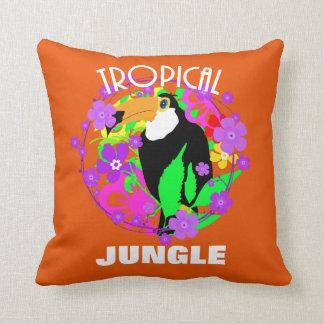 Exotic Toucan Bird Cute Tropical Jungle  Colorful Throw Pillow