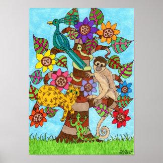 Exotic Tree of Life Folk Art Poster